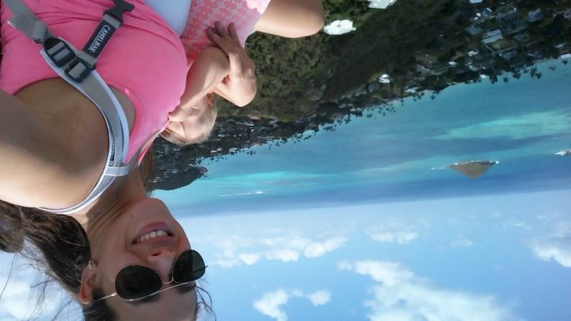 lanikai pillbox breastfeeding mom ocean aerial view oahu hawaii