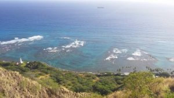 overlooking the ocean diamond head crater state park honolulu hawaii