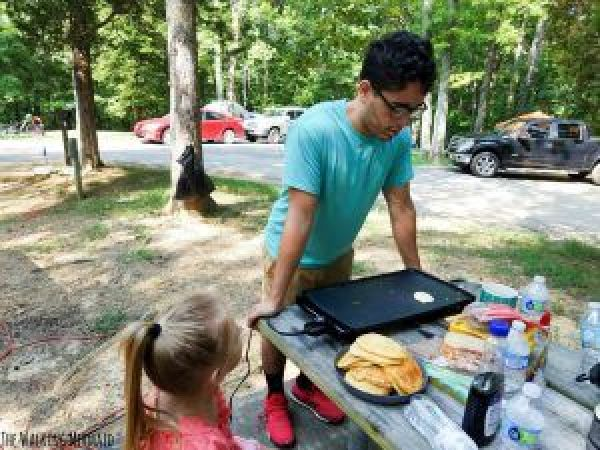 camp kitchen pancakes camping skillet outdoors