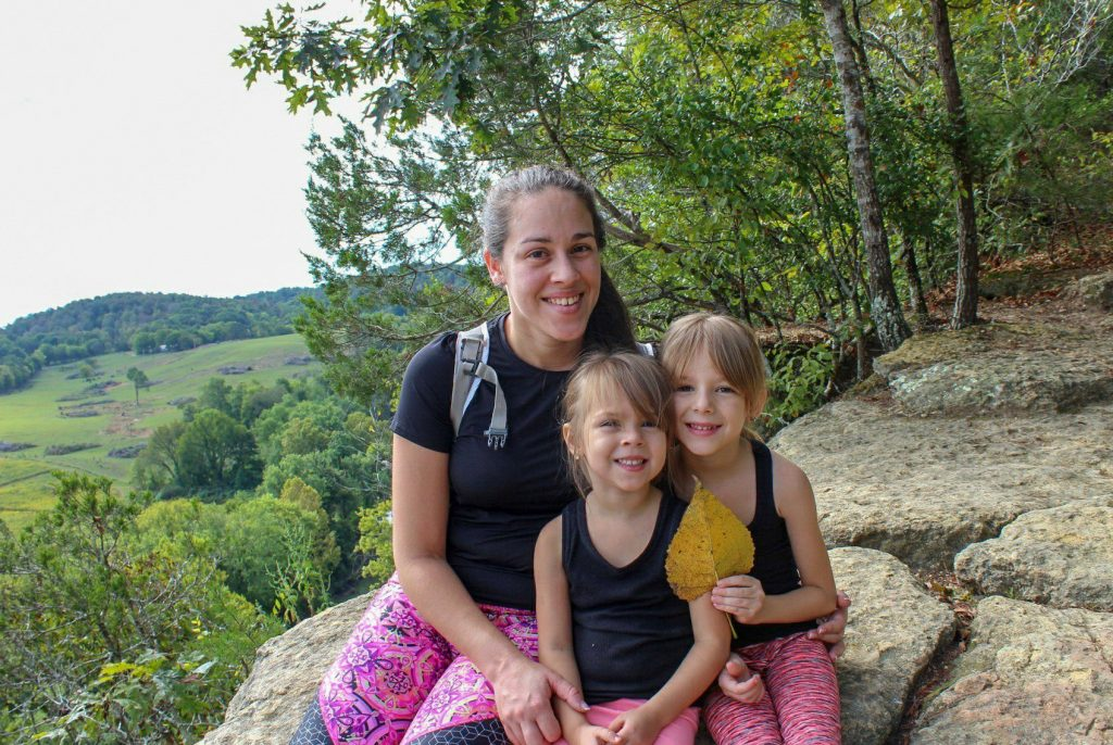 mom and daughter hiking kids harpeth river state park