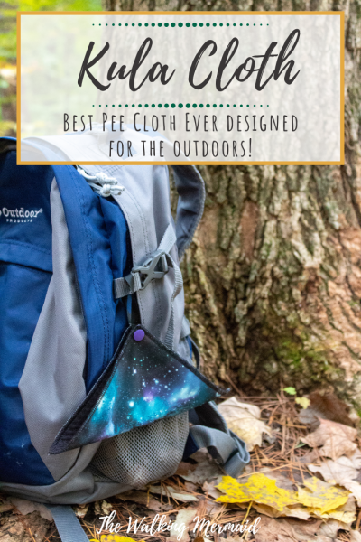 Kula Cloth overlay pee cloth for the outdoors hanging on a backpack
