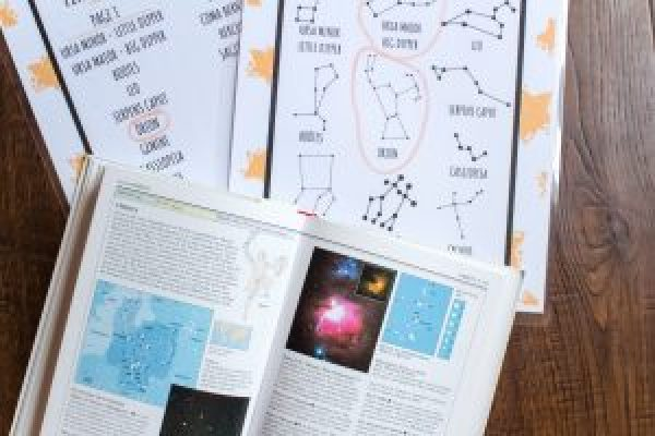 books and children's activity scavenger hunt constellation stars astronomy