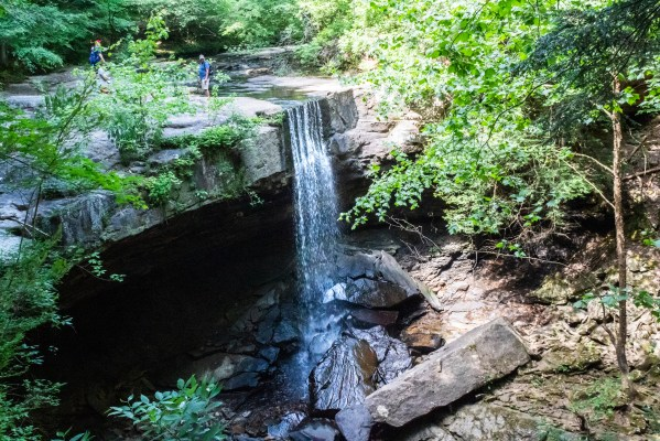 Laurel Falls Stone Door waterfall over cliff tennessee