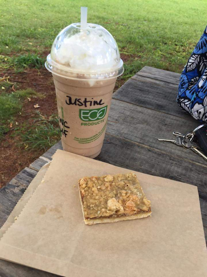 Delicious coffee frappe and a baked treat from Green Coffee Farms in Wahiawa. Posted on a travel guide that features the best things to do with kids on Oahu, Hawaii.