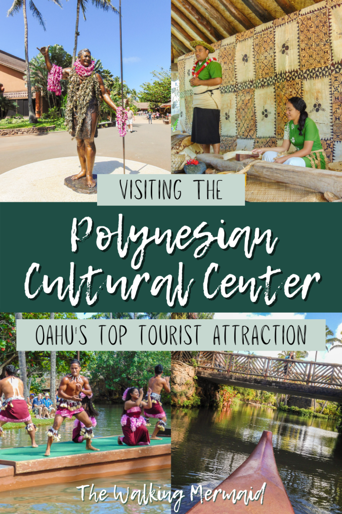 Photo collage of different locations at the Polynesian Cultural Center in Oahu, Hawai'i.
