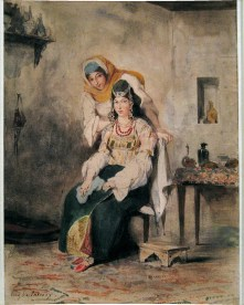 Eugene Delacroix, Saada, The Wife of Abraham Benchimol and Preciada, One of their Daughters. Tangier, 1832