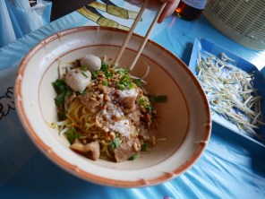 "A bowl of ""dry"" Sukhothai noodles"
