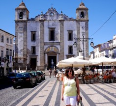 Main town square in Evora, Portugal