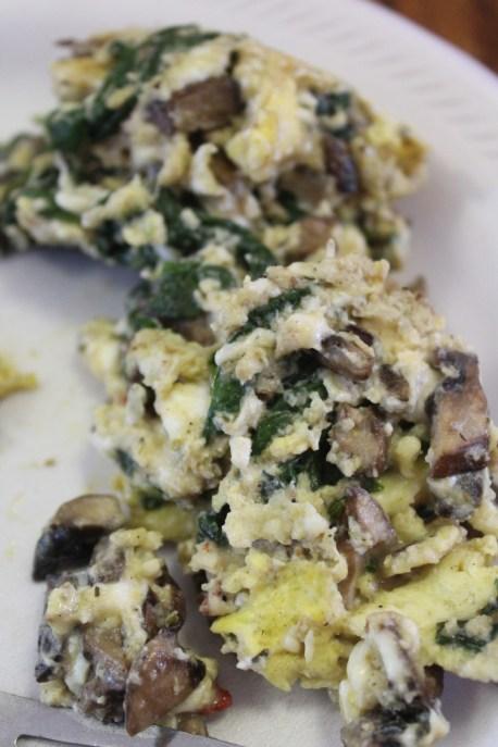 Eggs,mushrooms,spinach, and feta cheese