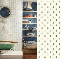 En las habitaciones de los niños tenemos mas posibilidades: veleros, anclas, cartas de navegación, serán un acierto en una sola pared