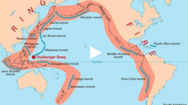 Ring of Fire seismic area where earthquakes are common