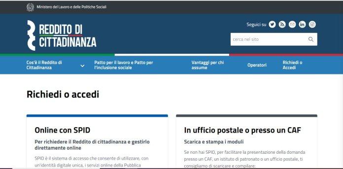 Reddito di cittadinanza_ come richiederlo. La schermata del sito