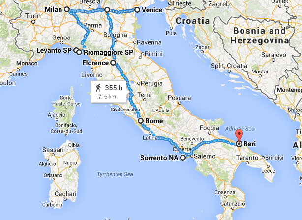 2 weeks in Italy travel route map