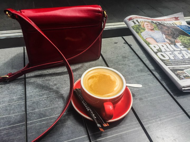 Coffee & Newspaper at World Bar Southbank Melbourne