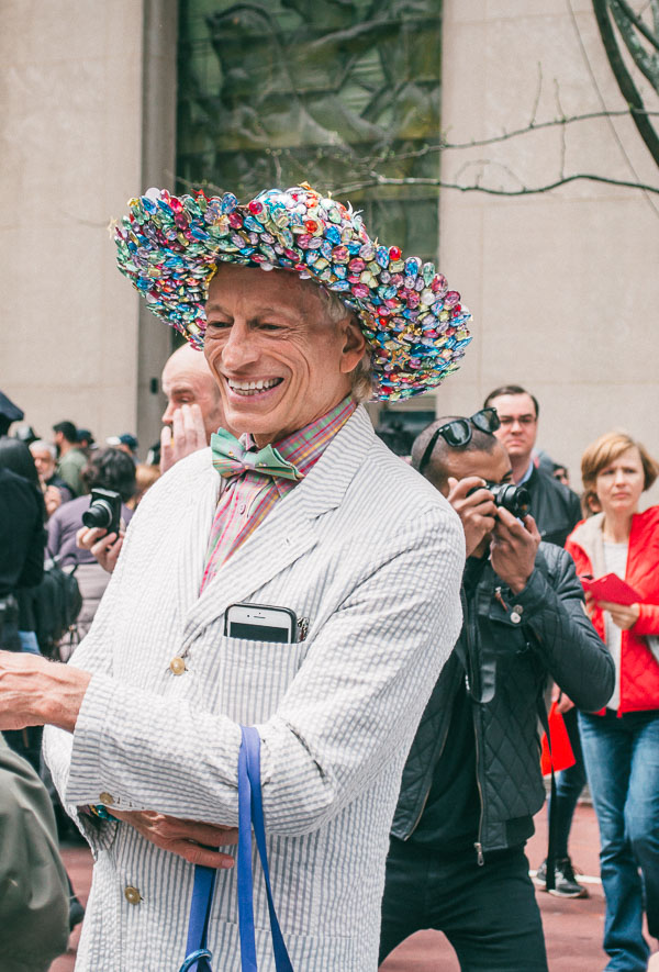 colourful bonnet at 5th avenue easter parade nyc