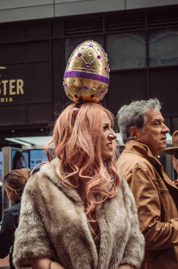 golden egg bonnet at 5th avenue easter parade nyc