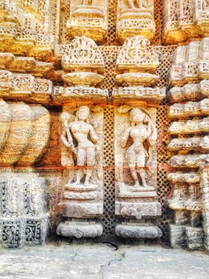 stone sculptures at Konark Sun Temple