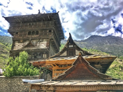 Kamru Fort with Temple Sangla valley Himachal Pradesh India