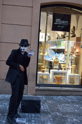 Artists dressed as Michael Jackson in Prague