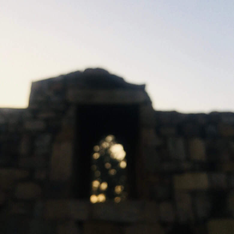 Qutub Minar, Delhi, India    Old structure out of focus