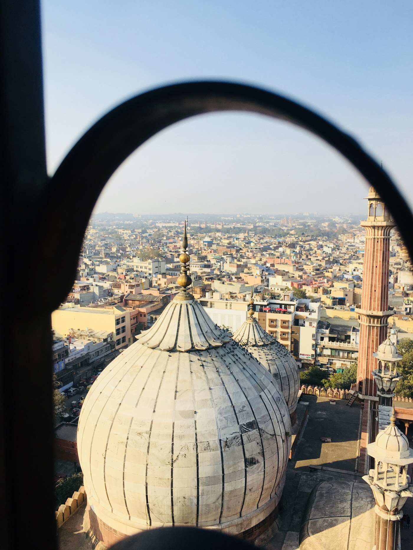 The tomb of Mosque from the Minaret Jama Masjid    The largest mosque in India
