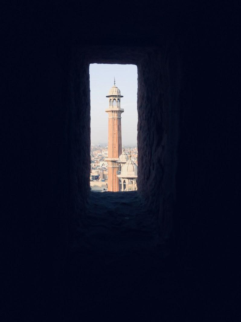 The small window in the Minaret in Jama Masjid