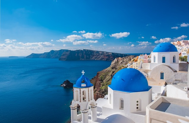 blue-dome-church-santorini-greece | Places to visit before I die | places to visit before you die