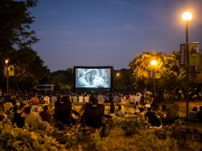A night time open air cinema at a Rosslyn park