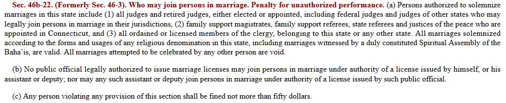Connecticut law definining who can perform marriages