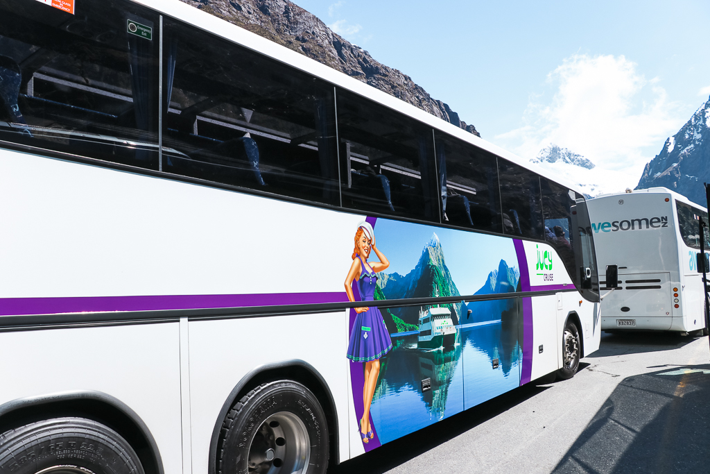 The glass roof coach on the JUCY Milford Sound Vista Tour