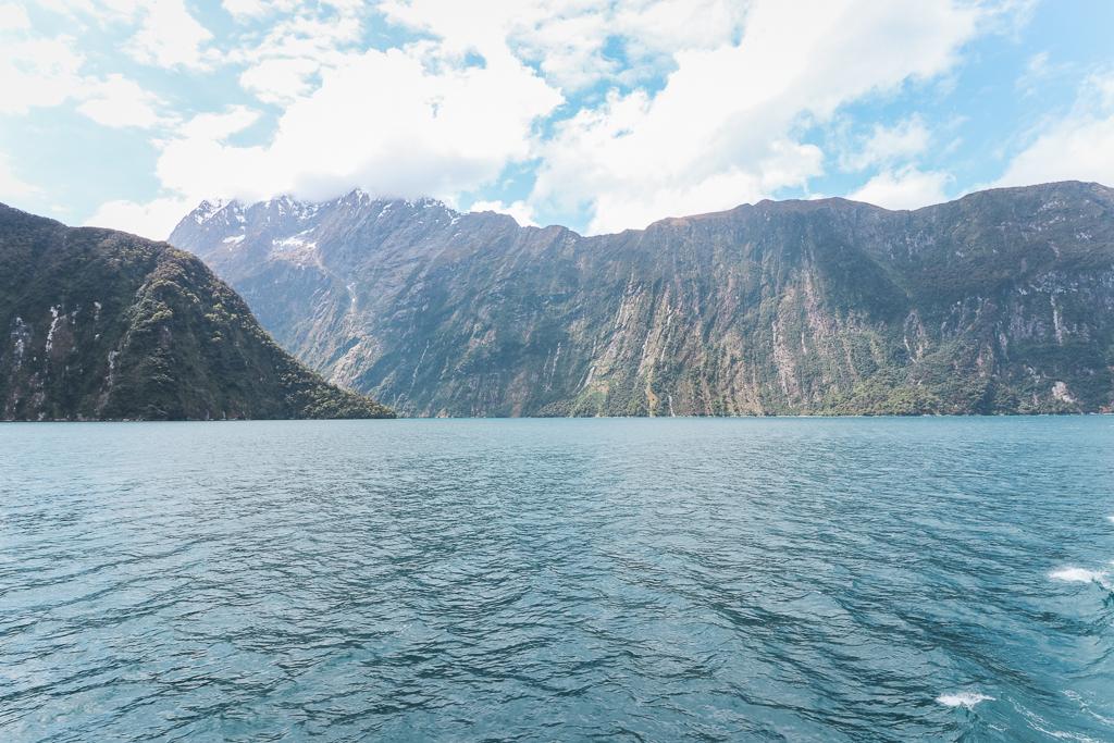 De blauw zee en steile rotsen van Milford Sound