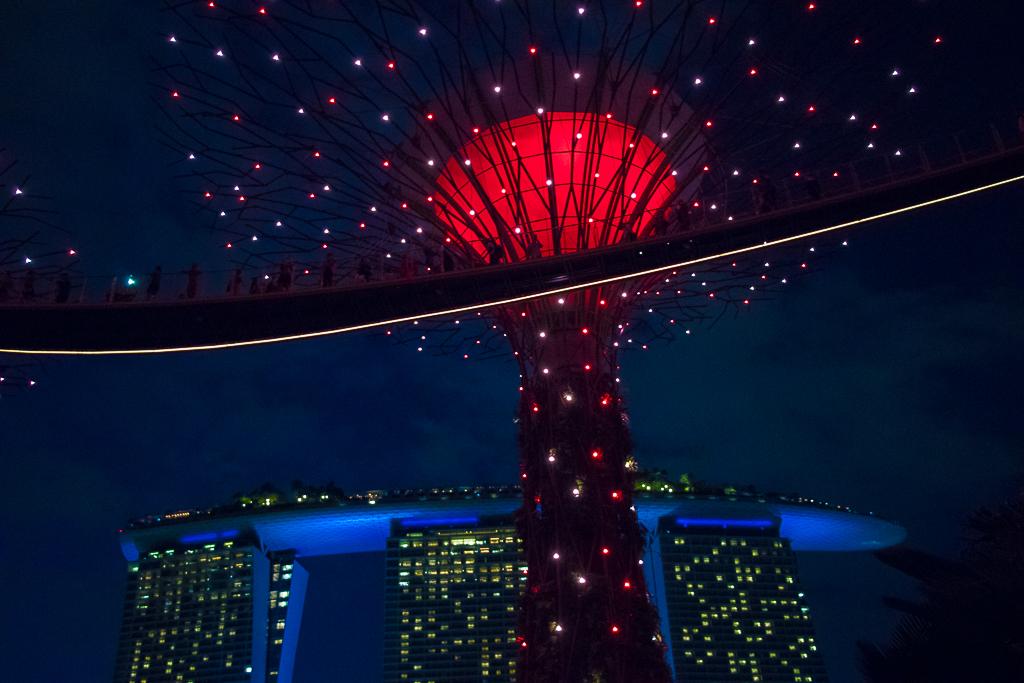 Een verlichte boom bij flat met boot tijdens citytrip Singapore.