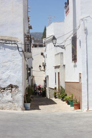 Narrow medieval streets of Salobrena in the old Muslim part of town