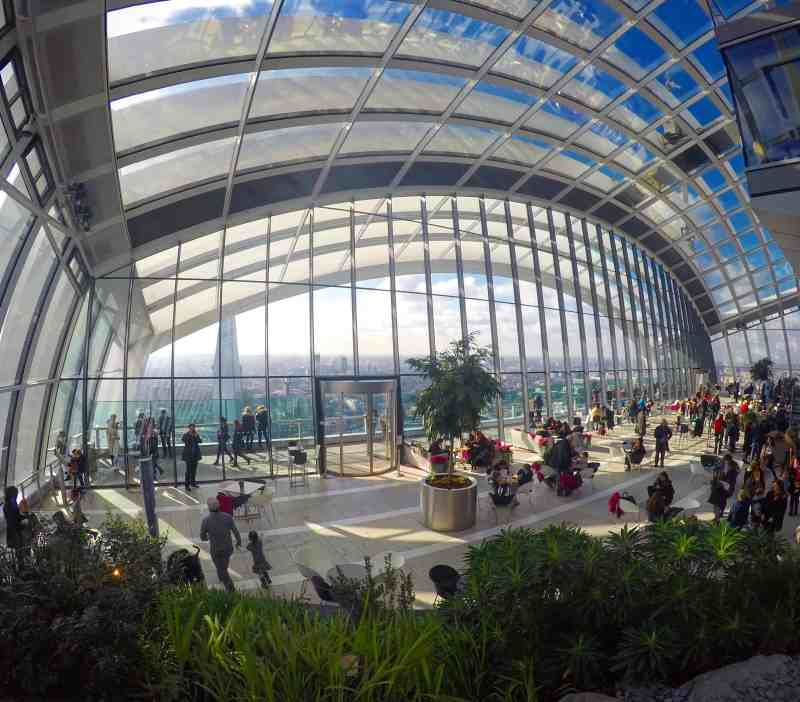Inside the glass sky garden