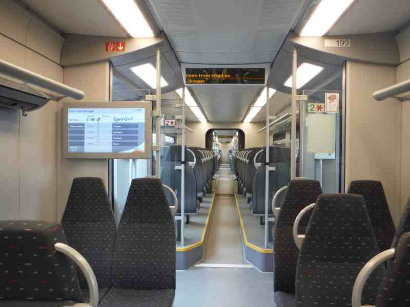 inside train carriage from Ghent to Bruges | weekend in Belgium