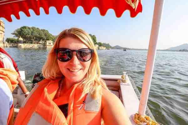 Lake Pichola Boat Trip girl on boat