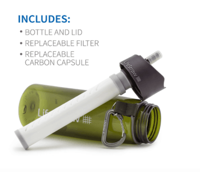 backpacking essentials filtered water bottle