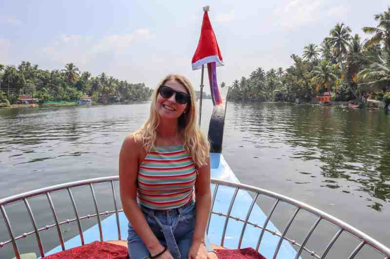 ellie quinn at christmas on backwaters of Kerala | planning a trip to India