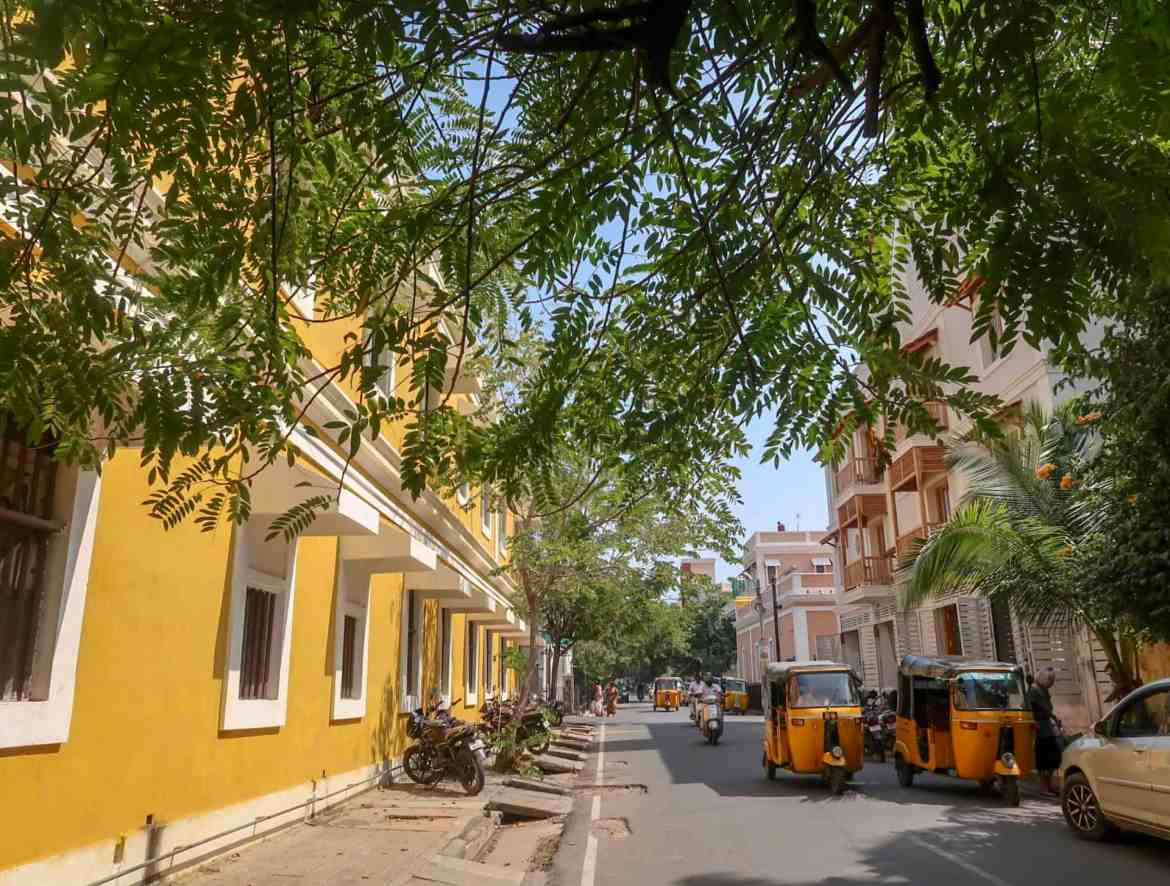 2 month India itinerary, yellow building and green streets of pondicherry