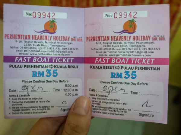 Perhentian Small Kecil Island Travel Guide Boat Ticket