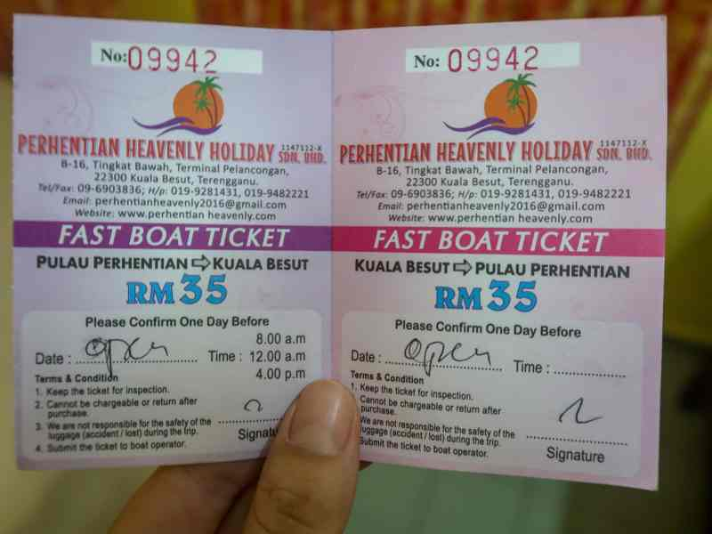 Small Perhentian Island Guide, Perhentian Kecil, Boat Ticket