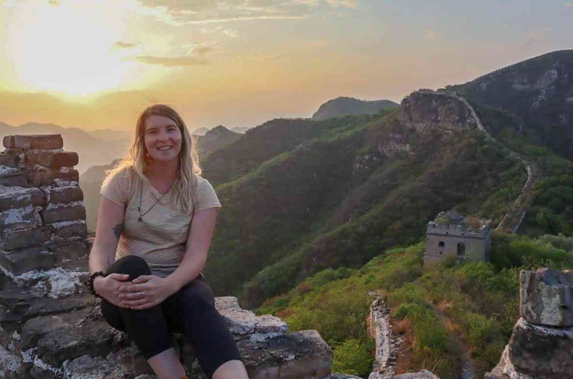 camping on Great Wall of China, sunset