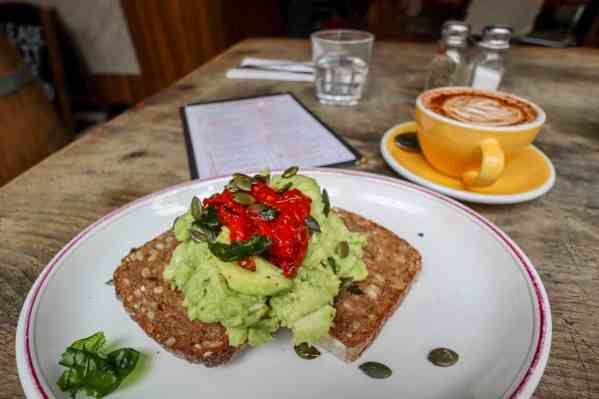 shoreditch self guided walk The Breakfast Club Hoxton inside Avocado on Rye Bread
