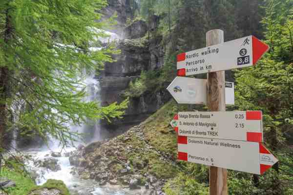 San Vili Pathway Trek Signs and Waterfall