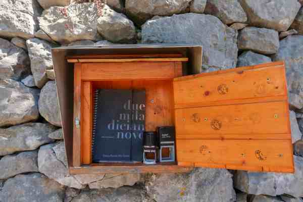 San Vili Pathway Trek Stamp and Book box