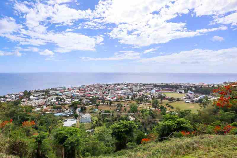 Morne Bruce Viewpoint looking over Roseau City Dominica and Ocean | unique things to do in Dominica