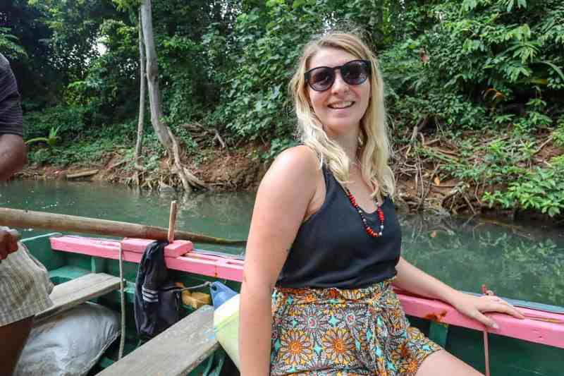 dominica travel guide, ellie quinn on boat on indian river cruise