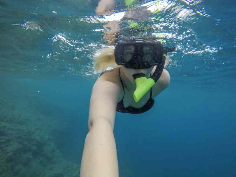 dominica day tours, ellie quinn snorkelling in Dominica