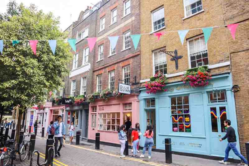 Covent Garden colourful shops and Bunting | covent garden london guide