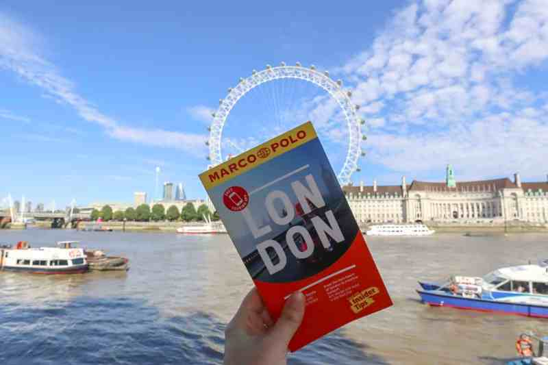 London Marco Polo Guide Book Front with London eye behind | London River Thames Walk